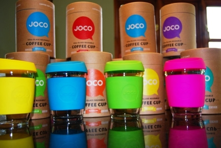 Joco reusable glass coffee cup in pink green blue yellow red purple lime mint and orange