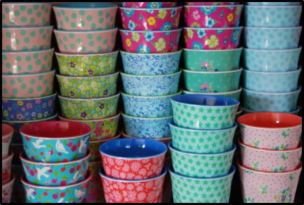 Patterned melamine cups