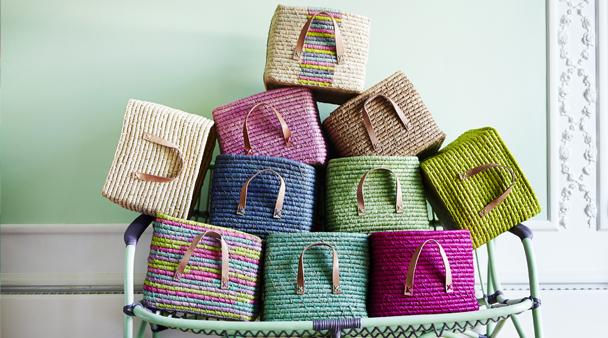 Merveilleux Rice DK Handmade Coloured Raffia Storage Baskets