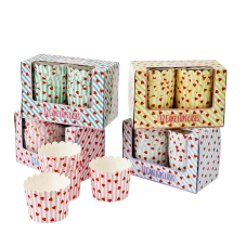 Set of 12 Striped & Strawberry Print Cup Cake Cases By Rice DK
