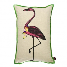 Flamingo embroidered linen cushion by Ginger