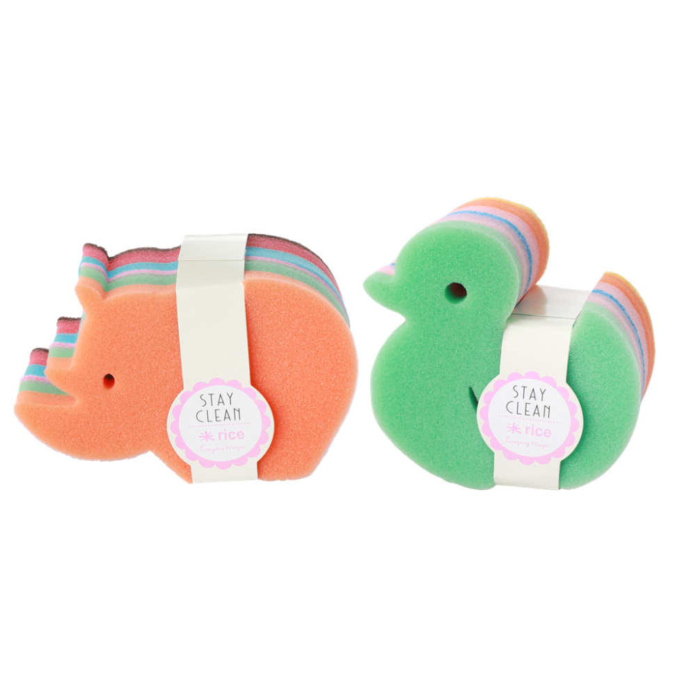 Set of 2 Animal Shaped Kitchen Sponges By Rice DK