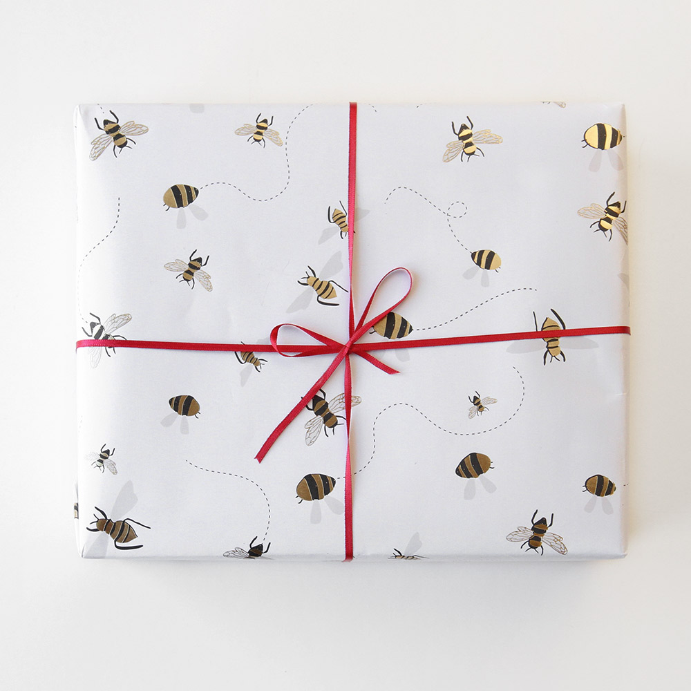 Bee Print Wrapping Paper By Caroline Gardner