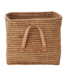 Beige Square Raffia Basket Tan Leather Handles Rice