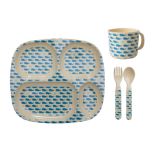 Blue Whales & Starfish Print Baby 4 Piece Melamine Dinner Set Gift Box Rice