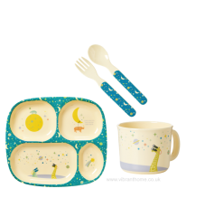 Universe Blue Print Baby 4 Piece Melamine Dinner Set in Gift Box By Rice