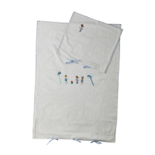 Baby Bed Linen Set White with Blue Embroidery Rice DK