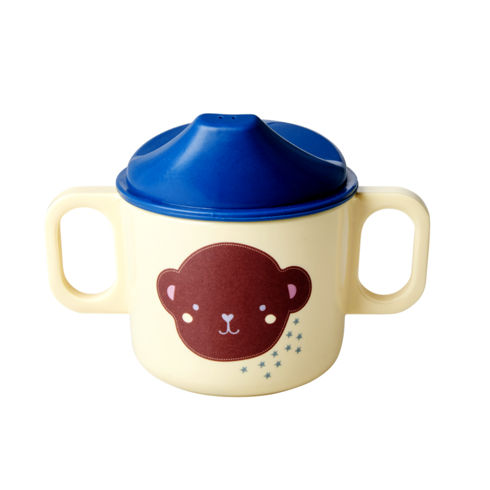 Baby Melamine Cup with 2 Handles and Lid Monkey Print Rice DK