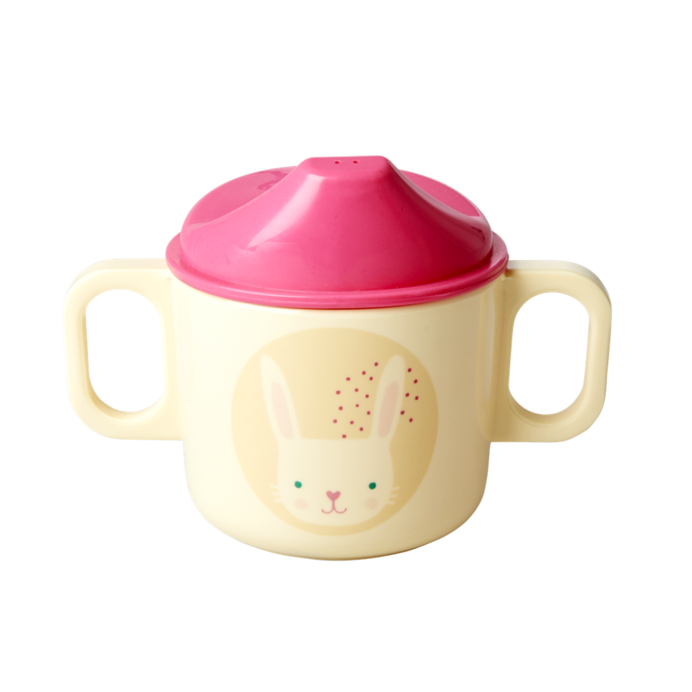Baby Melamine Cup with 2 Handles and Lid Rabbit Print Rice DK