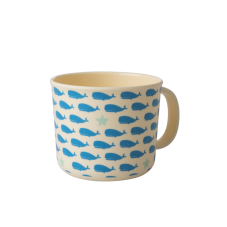 Baby Melamine Cup with Handle Blue Whale Print Rice DK