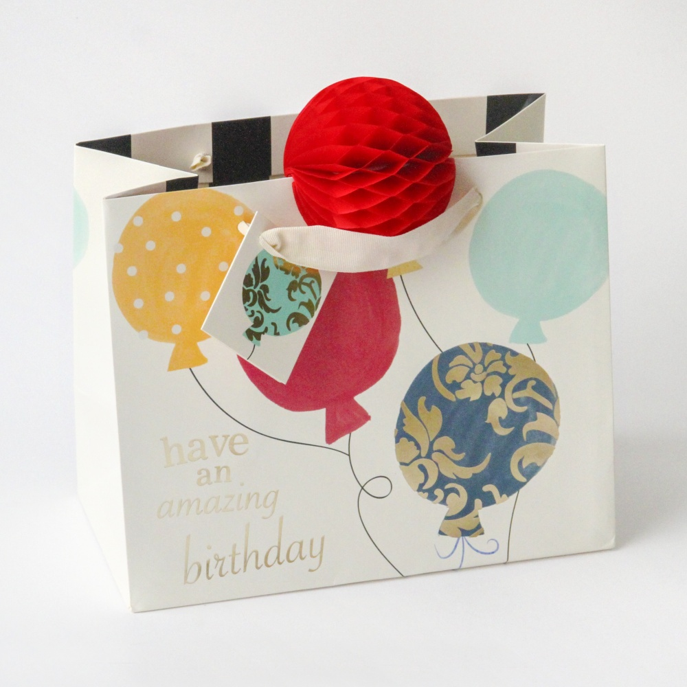 Balloon and 3D Pom Pom Gift Bag By Caroline Gardner