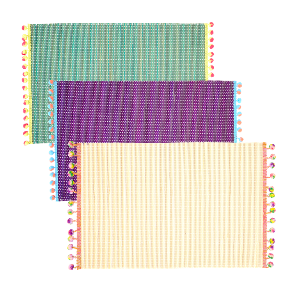 Bamboo Placemats with Pom Pom Decoration By Rice DK