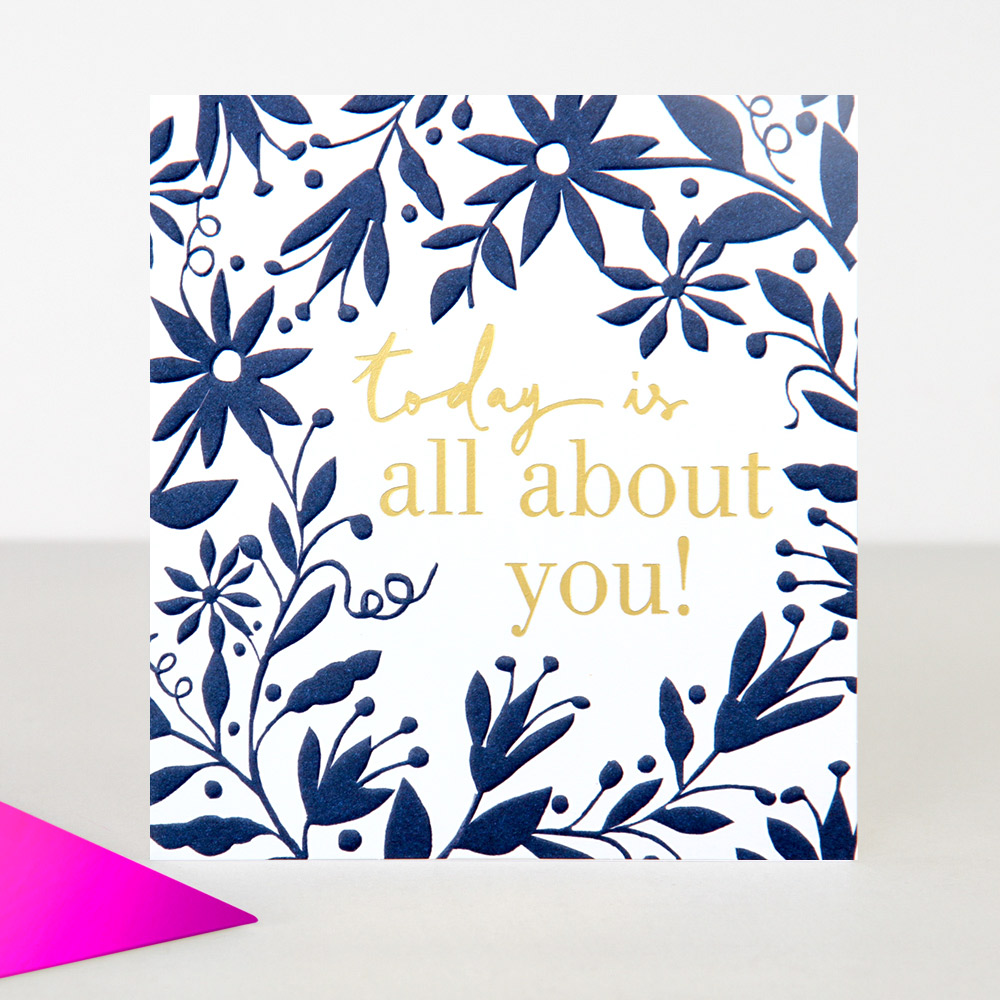 Blue Floral Birthday Card By Caroline Gardner