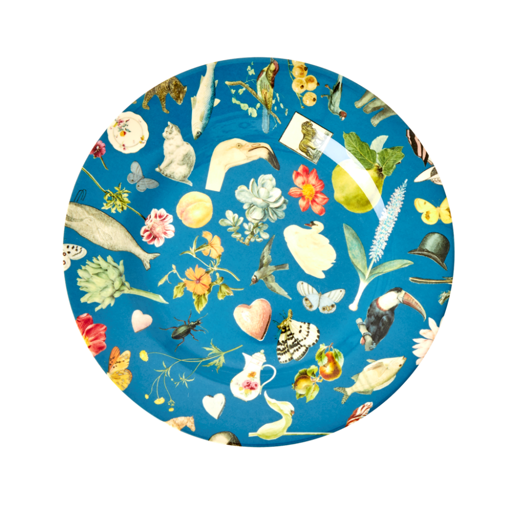 Blue Art Print Melamine Side Plate By Rice DK