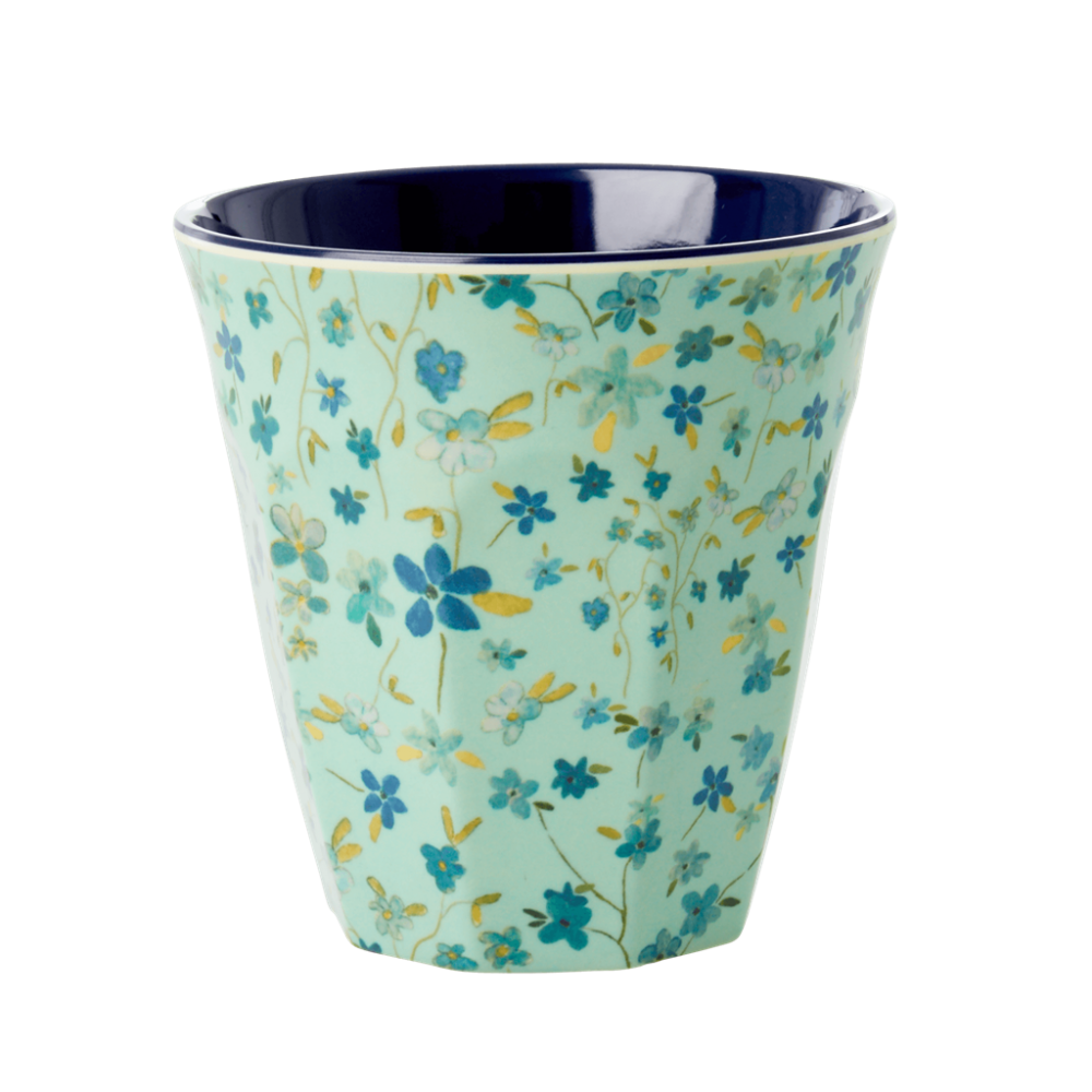 Blue Floral Print Melamine Cup By Rice DK