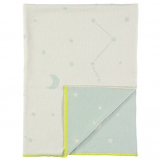 Blue and Cream Stars and Moon Organic Cotton Blanket Meri Meri