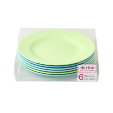 Set of 6 Blue & Green Side or Kids Plates By Rice DK