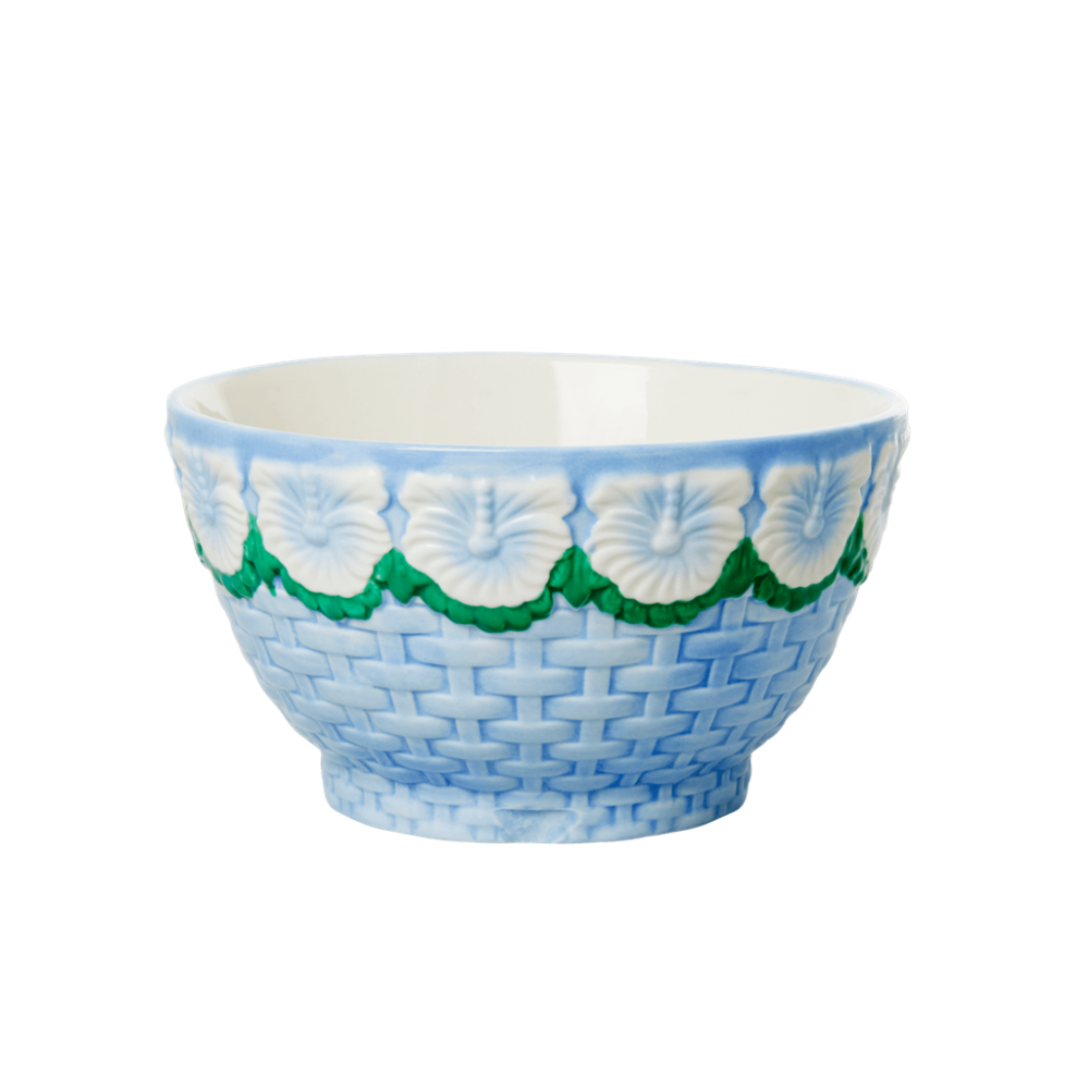 Ceramic Bowl with Embossed Blue Flower Design Rice DK