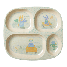 Boy's Vehicle Print 4 Space Melamine & Bamboo Plate Rice DK