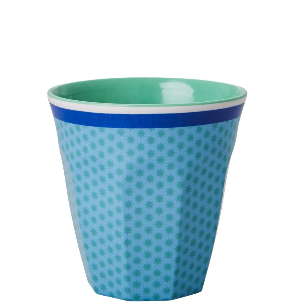 Kids Small Melamine Cup Green Star & Blue Stripe Rice DK