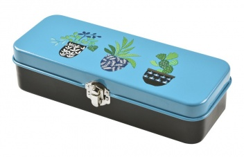 Brie Harrison Print Blue Enamel Storage Tin