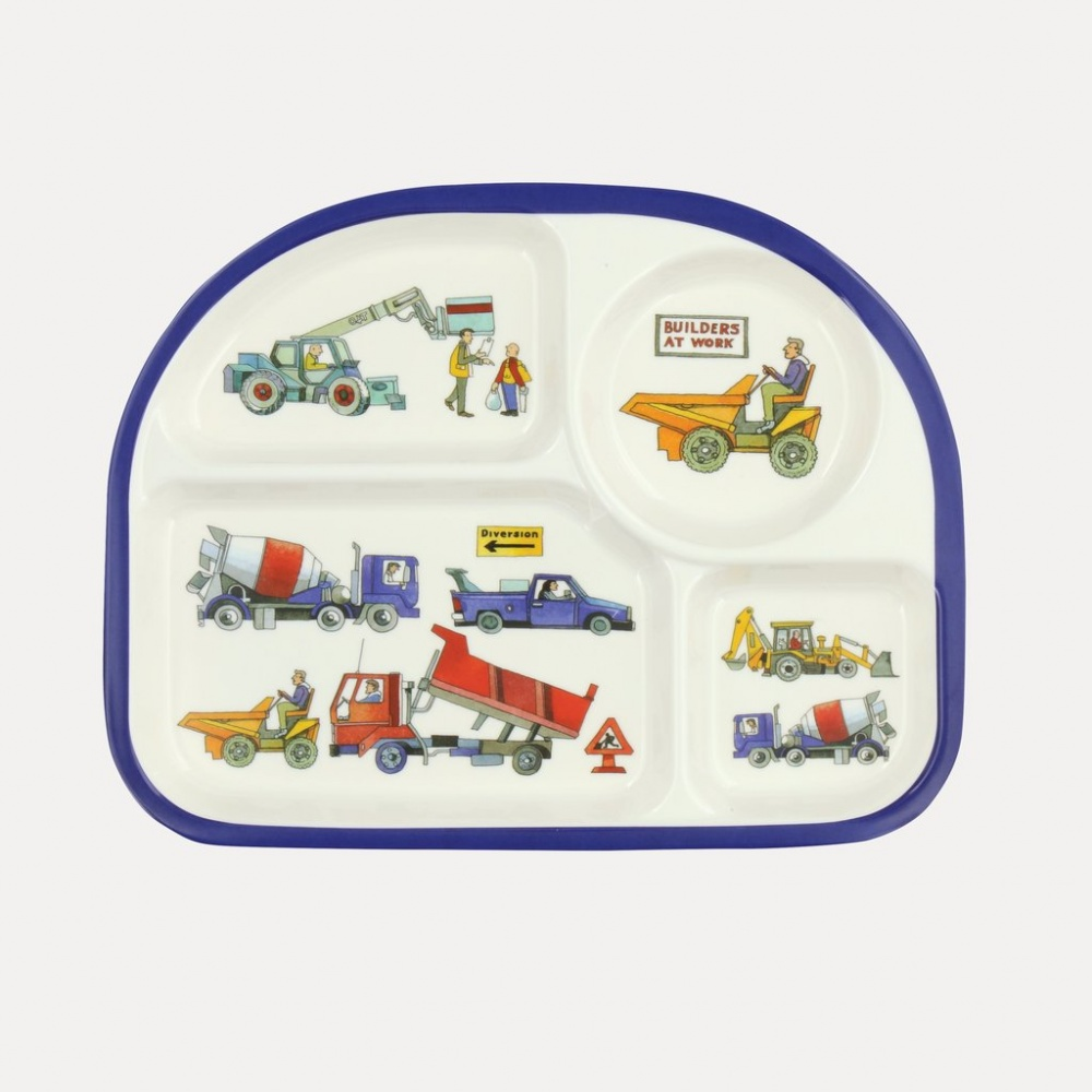 Kids 4 Room Melamine Plate Builders at Work Print Emma Bridgewater