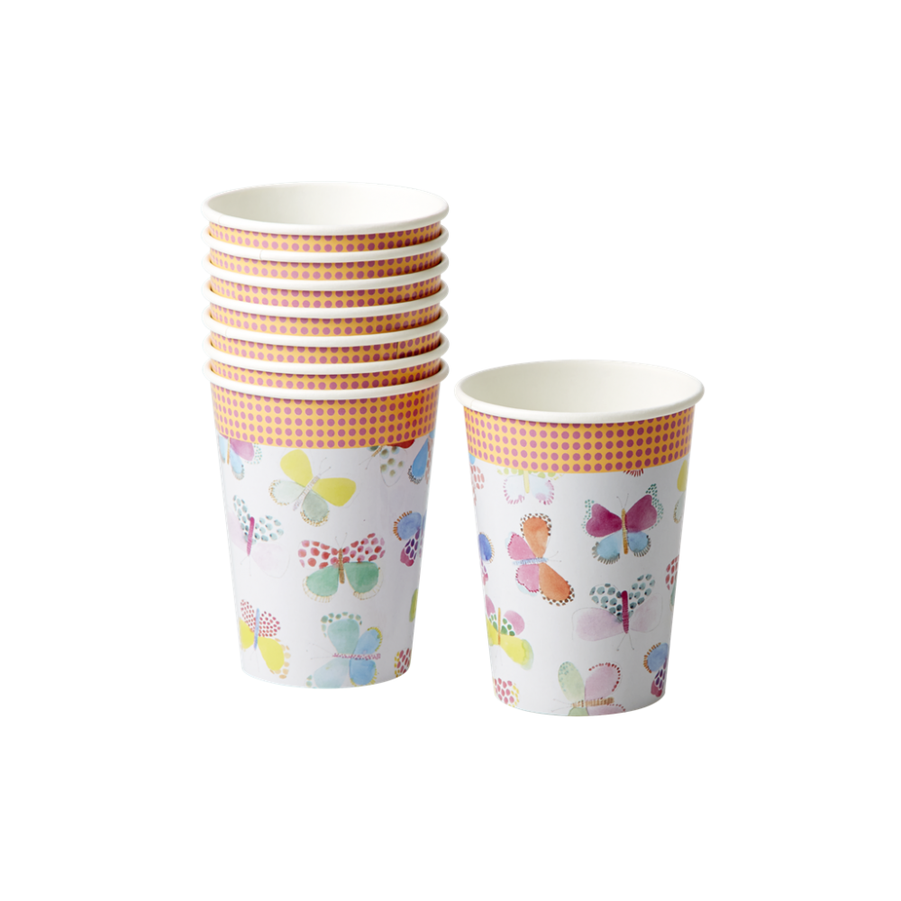 Butterfly Print Set of 8 Paper Cups By Rice DK