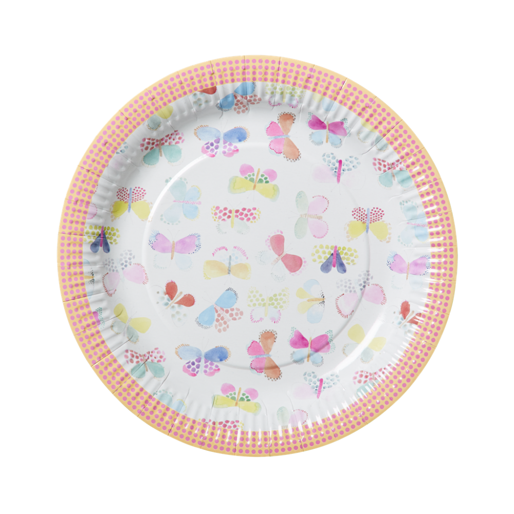 Butterfly Print Set of 8 Paper Plates By Rice DK