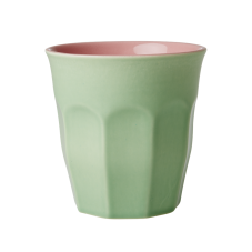 Soft Green & Pink Two Tone Ceramic Cup By Rice DK