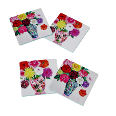 4 Cork Coasters flower prints of roses & dahlias Rice DK