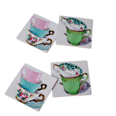 4 Cork Coasters vintage tea cup prints from Rice DK