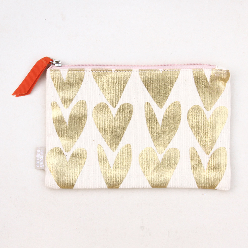 Metallic Gold Hearts Pouch By Caroline Gardner