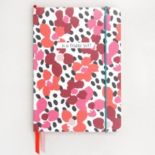 Red Jumble Print  A5 Notebook with Ribbon Page Markers By Caroline Gardner