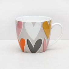 Caroline Gardner Layered Heart Print Everyday China Mug