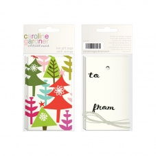 Caroline Gardner Colourful Christmas Tree Forest Gift Tags
