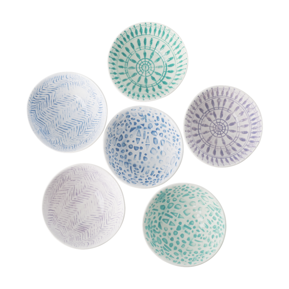 Ceramic Dipping Bowls in assorted Blue and Greens Rice DK