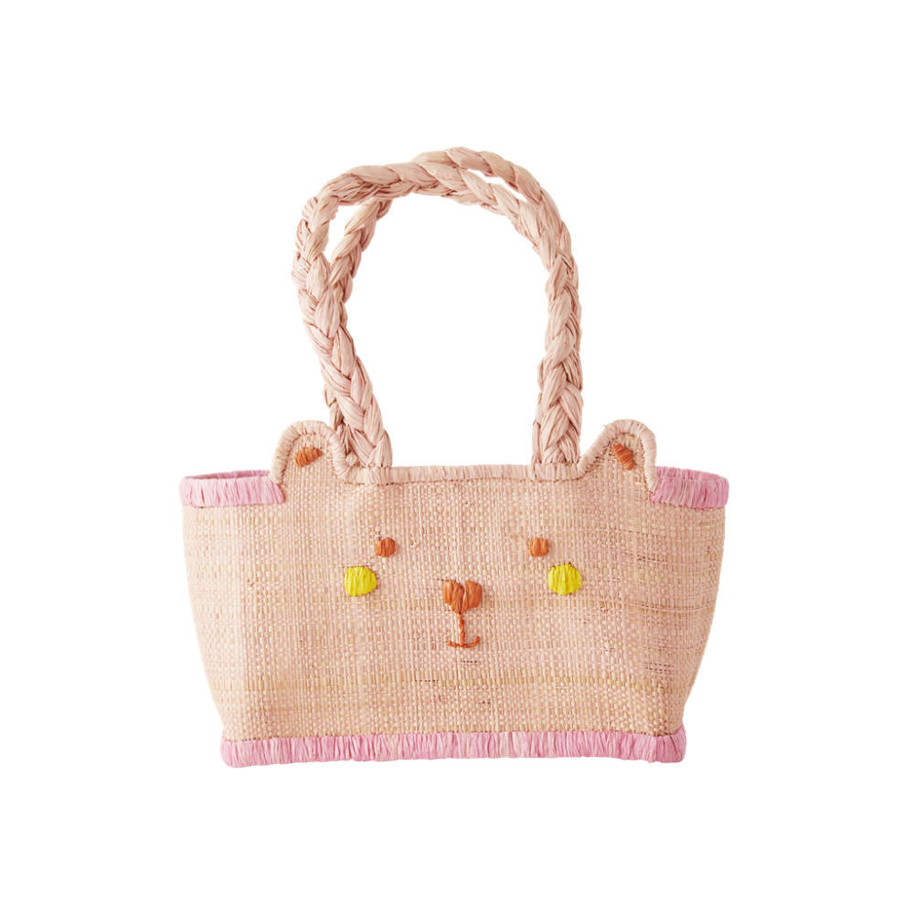 Kids Pink Bear Shaped Raffia Bag By Rice DK