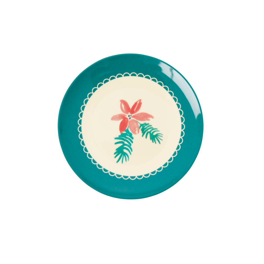 Christmas Poinsettia Print Small Round Melamine Plate Rice DK