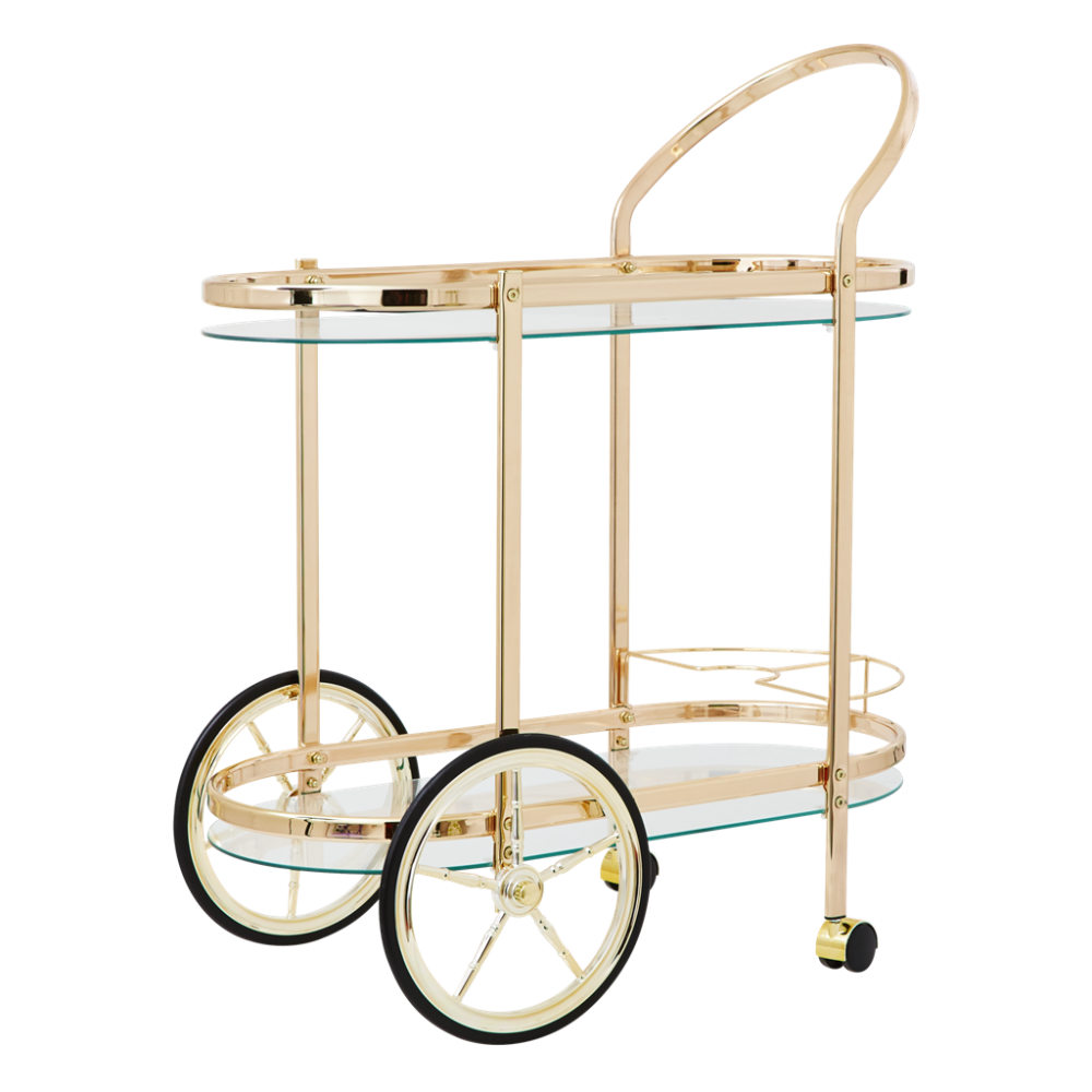 Cocktail Cart in Gold Plated Metal By Rice DK