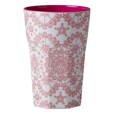 Rice DK Coral Pink Lace Tall Melamine Latte Cup