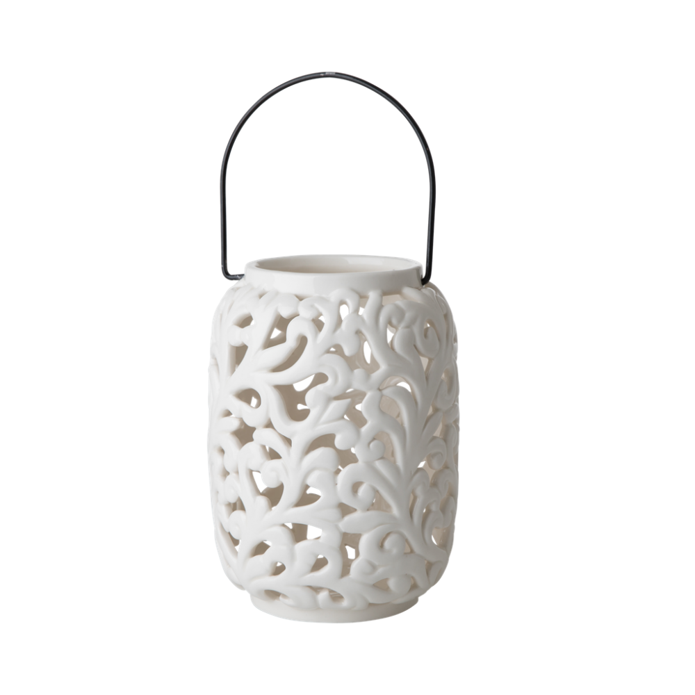 Cream Ceramic Lantern By Rice Dk Vibrant Home