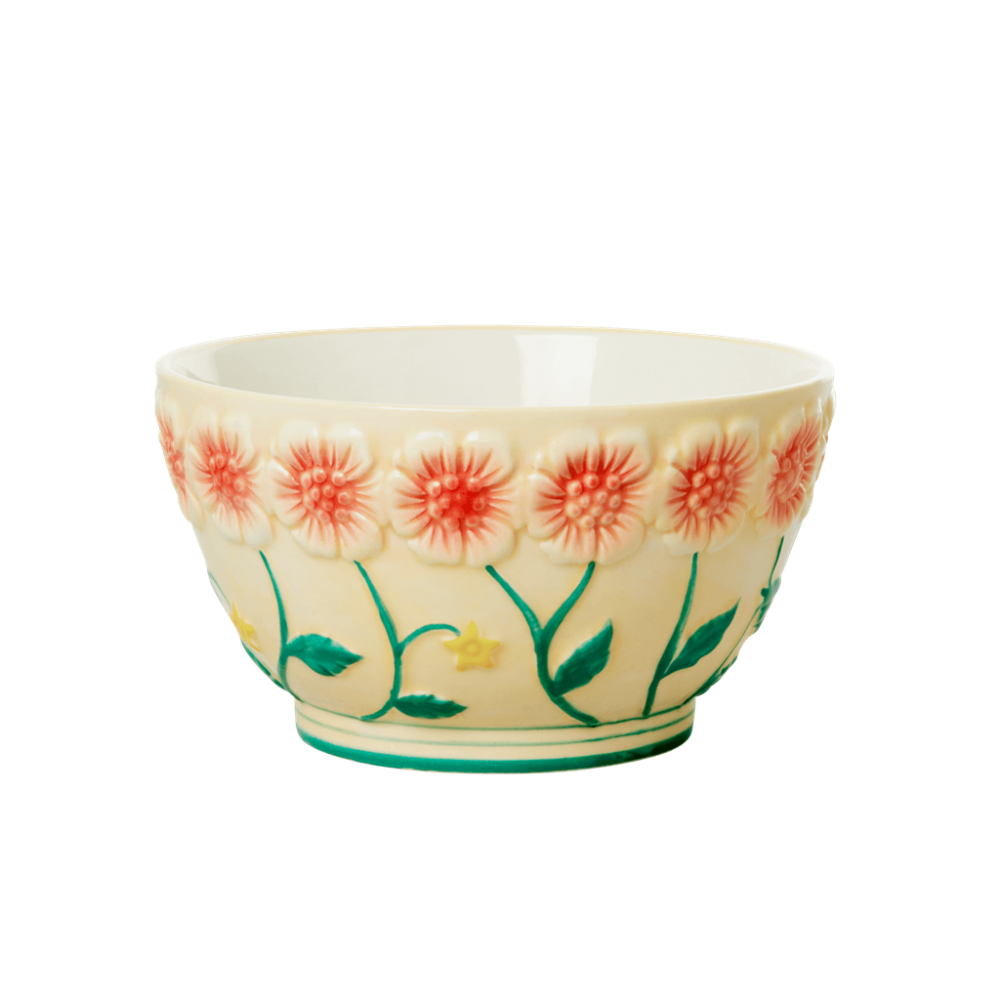 Ceramic Bowl with Embossed Cream Flower Design Rice DK