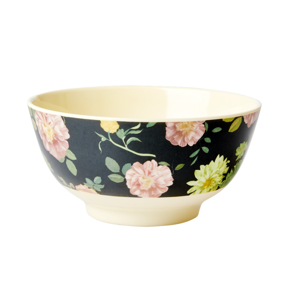 Dark Rose Print Melamine Bowl By Rice DK