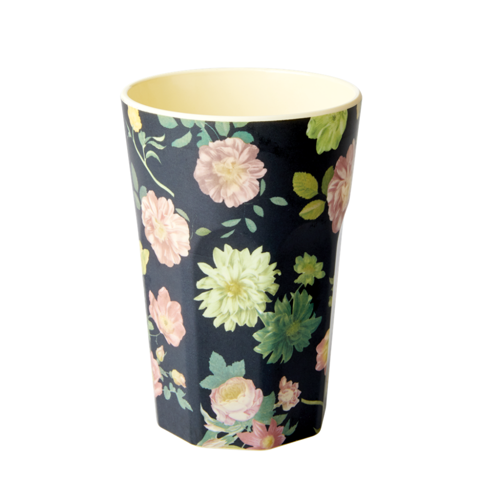 Dark Rose Print Tall Melamine Cup By Rice DK