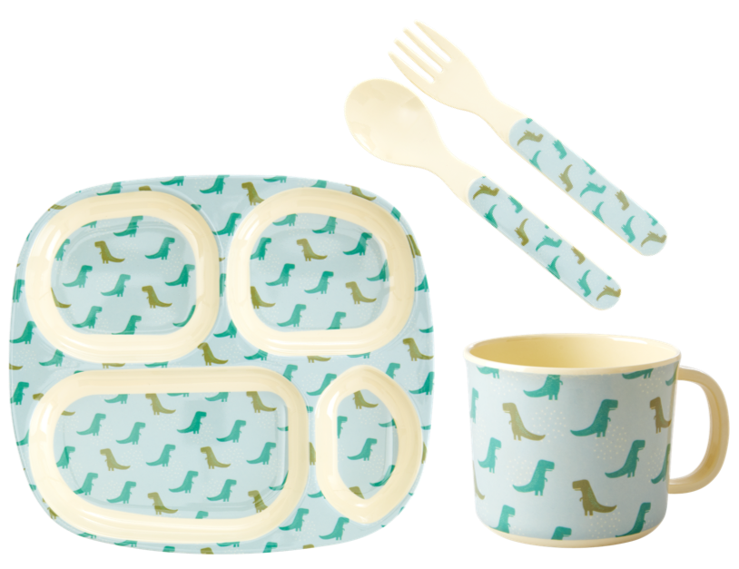 Dinosaur Print Baby 4 Piece Melamine Dinner Set in Gift Box By Rice