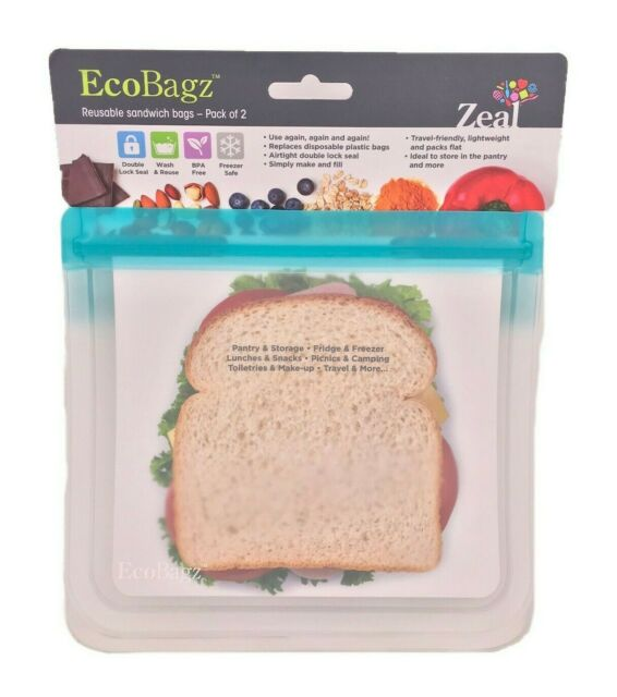 EcoBagz By CKS Zeal Set of 2 Reusable Sandwich Bags