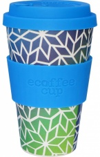 Ecoffee Cup Reusable Bamboo Cup Blue & Green Stargate Print
