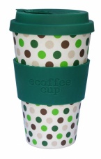 Ecoffee Cup Reusable Bamboo Cup Green Polka Dot Print