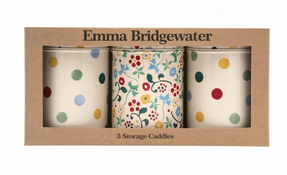 Emma Bridgewater Polka Dot & Floral Print Set of 3 Tin Caddies