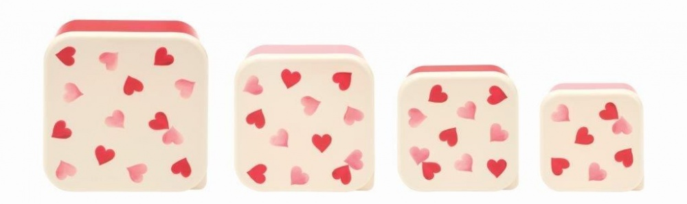 Set of 4 Pink Heart Print Snack Boxes By Emma Bridgewater